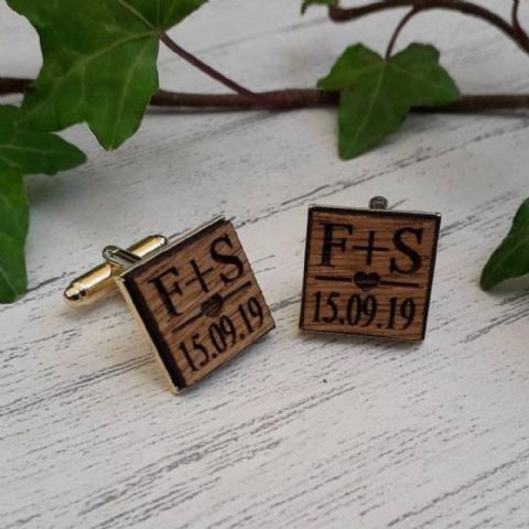Personalised Initials Date & Heart Wooden Oak Cufflinks, Gold Plated